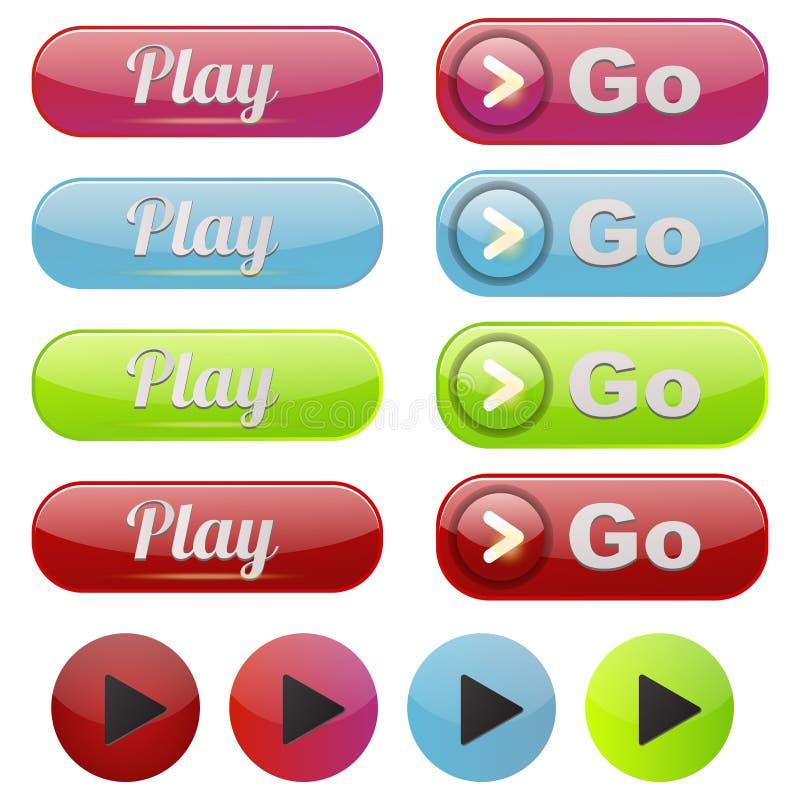 Illustration en ligne de vecteur de clic de marque de joueur d'élément de site Web d'Internet de media de jeu de bouton d'interfa illustration de vecteur