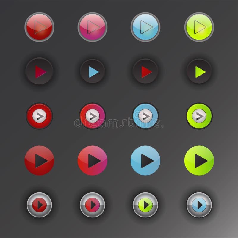 Illustration en ligne de vecteur de clic de marque de joueur d'élément de site Web d'Internet de media de jeu de bouton d'interfa illustration stock