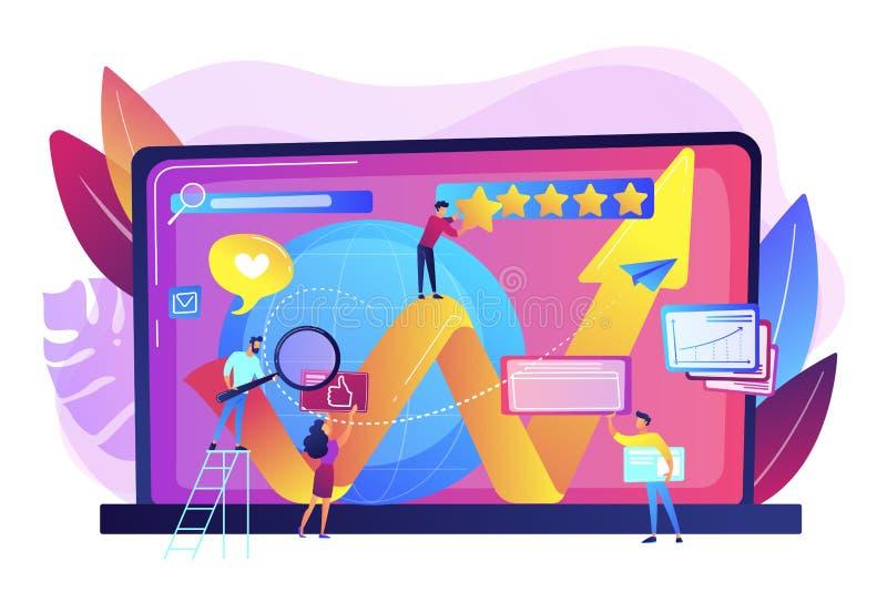 Illustration en ligne de vecteur de concept de gestion de réputation illustration de vecteur