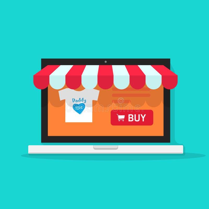 Illustration en ligne de vecteur de boutique, avant en ligne de magasin d'Internet de style plat sur l'ordinateur portable illustration libre de droits