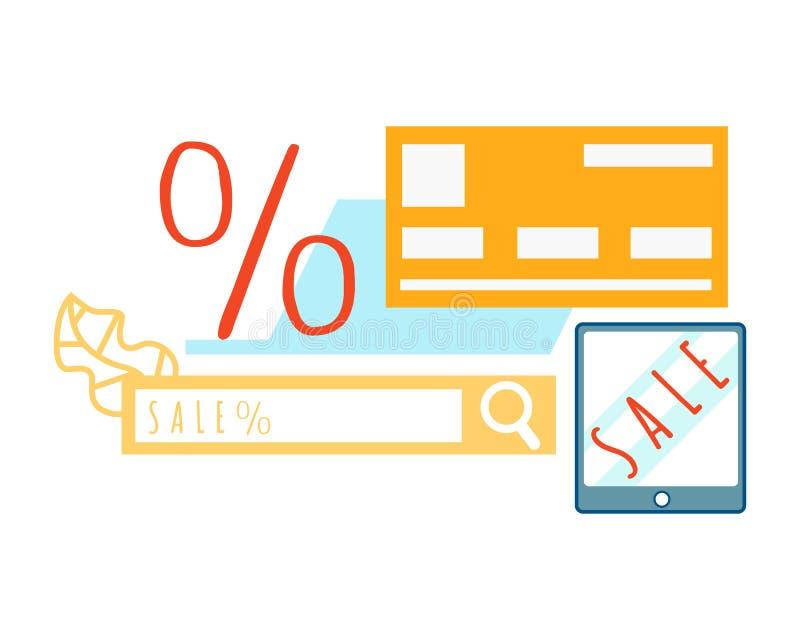 Illustration en ligne de vecteur de vente de magasin de l'électronique illustration stock
