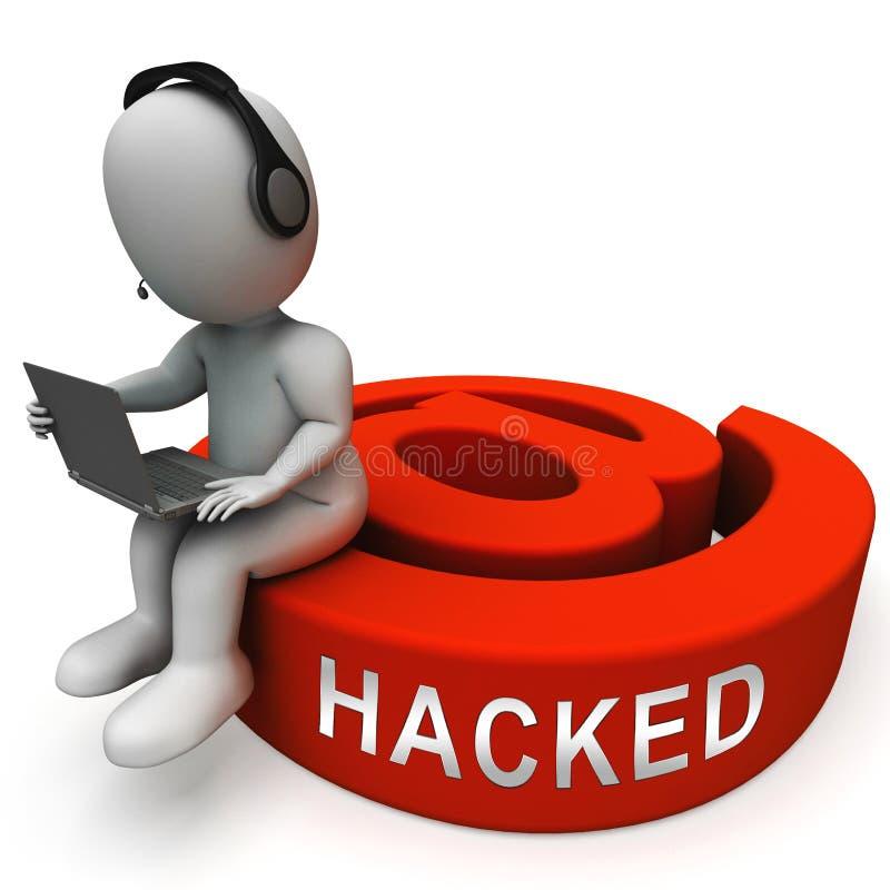 Illustration en ligne entaillée de l'attaque 3d de courrier d'email illustration libre de droits