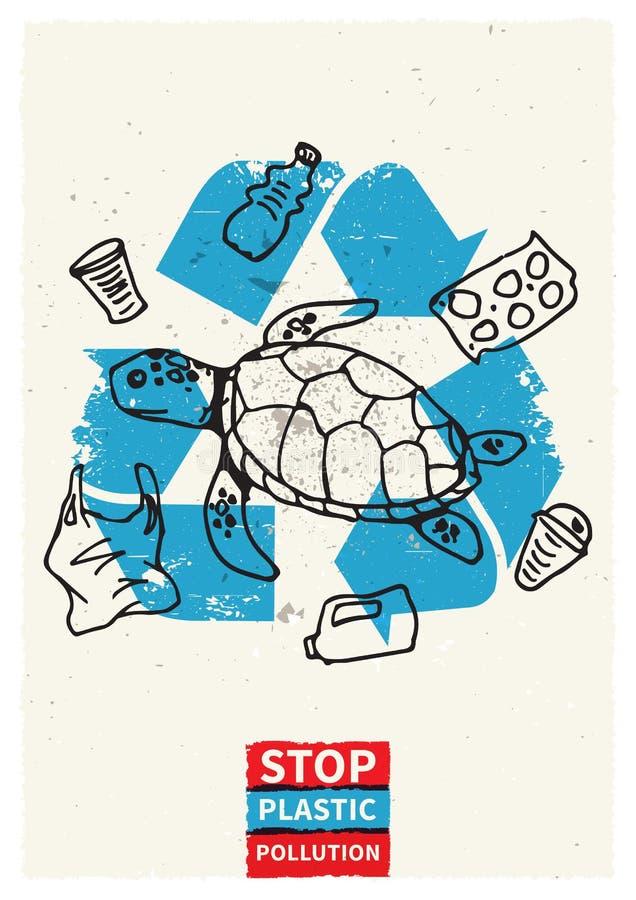 Illustration en plastique de vecteur de pollution d'océan d'arrêt avec la tortue illustration libre de droits