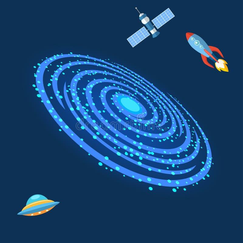 Illustration en spirale milkyway extérieure de vecteur d'univers de ciel de l'espace d'astronomie d'astrologie de galaxie de mani illustration libre de droits