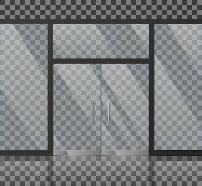 Illustration en verre de vecteur de façade de magasin illustration libre de droits