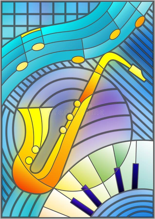 Illustration en verre souillé au sujet de la musique, la forme d'un saxophone abstrait sur le fond géométrique illustration libre de droits