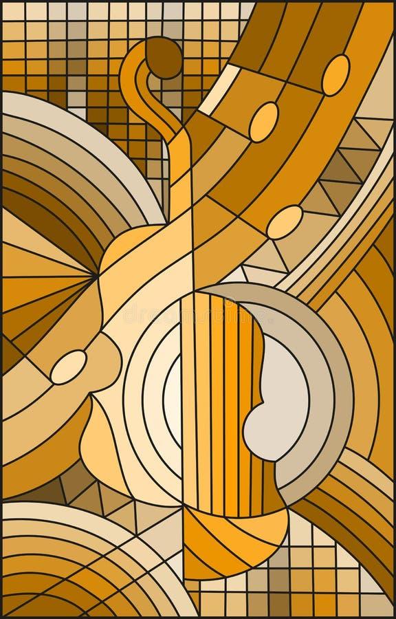 Illustration en verre souillé au sujet de la musique, la forme d'un violon abstrait sur le fond géométrique, ton brun, sépia illustration de vecteur