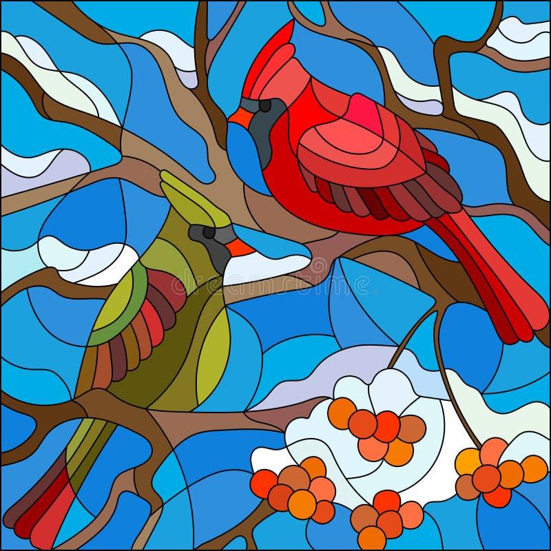 Illustration en verre souillé avec des cardinaux d'oiseaux sur la branche de la sorbe illustration libre de droits