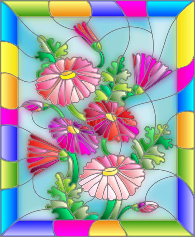 Illustration en verre souillé avec des fleurs, des feuilles et des bourgeons des marguerites illustration de vecteur