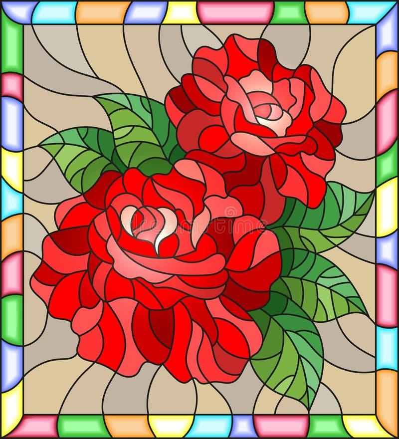 Illustration en verre souillé avec des fleurs et des feuilles de rose de rouge sur le fond brun dans un lumineux un cadre illustration libre de droits