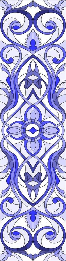Illustration en verre souillé avec des remous abstraits, des fleurs et des feuilles sur un fond clair, bleu gamma d'orientation v illustration libre de droits