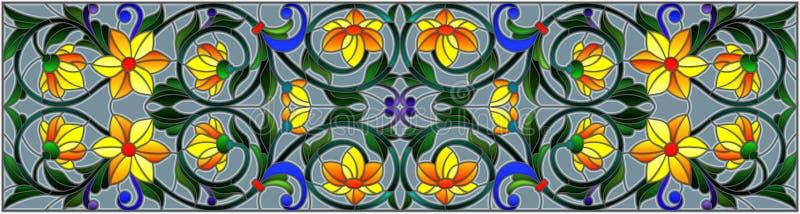 Illustration en verre souillé avec des remous abstraits, des fleurs jaunes et des feuilles sur un fond gris, orientation horizont illustration libre de droits