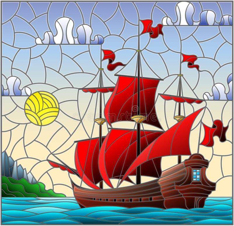 Illustration en verre souillé avec des voiliers avec les voiles rouges contre le ciel, la mer et le lever de soleil illustration stock