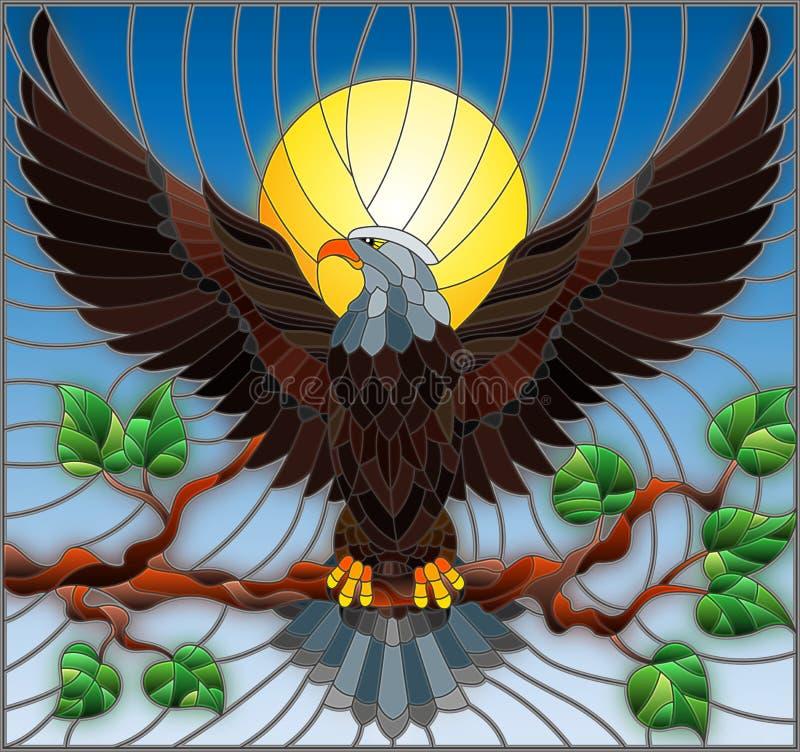 Illustration en verre souillé avec l'aigle fabuleux se reposant sur une branche d'arbre contre le ciel illustration stock