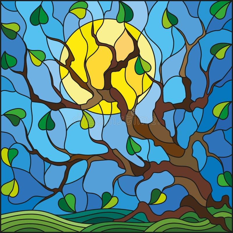 Illustration en verre souillé avec l'arbre sur le fond et le soleil de ciel illustration stock