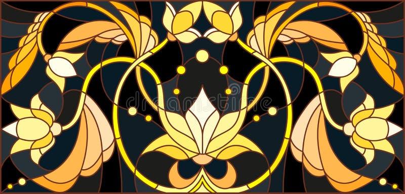 Illustration en verre souillé avec l'ornement floral, l'or d'imitation sur le fond foncé avec des remous et les motifs floraux illustration de vecteur