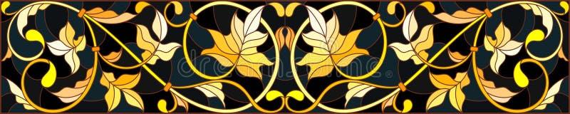 Illustration en verre souillé avec l'ornement floral, l'or d'imitation sur le fond foncé avec des remous et les motifs floraux illustration stock