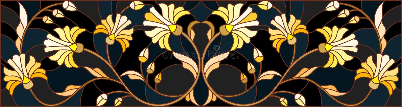 Illustration en verre souillé avec l'ornement floral, l'or d'imitation sur le fond foncé avec des remous et les motifs floraux illustration libre de droits