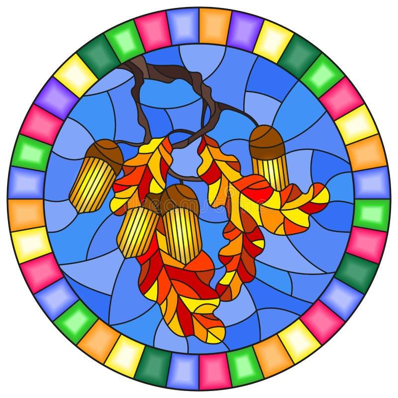 Illustration en verre souillé avec la branche d'un chêne, des glands et des feuilles sur le fond du ciel bleu dans un cadre lumin illustration de vecteur