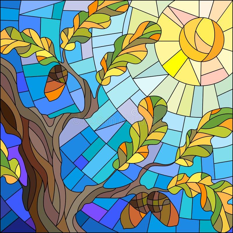 Illustration en verre souillé avec la branche d'un chêne sur le fond et le soleil de ciel illustration libre de droits