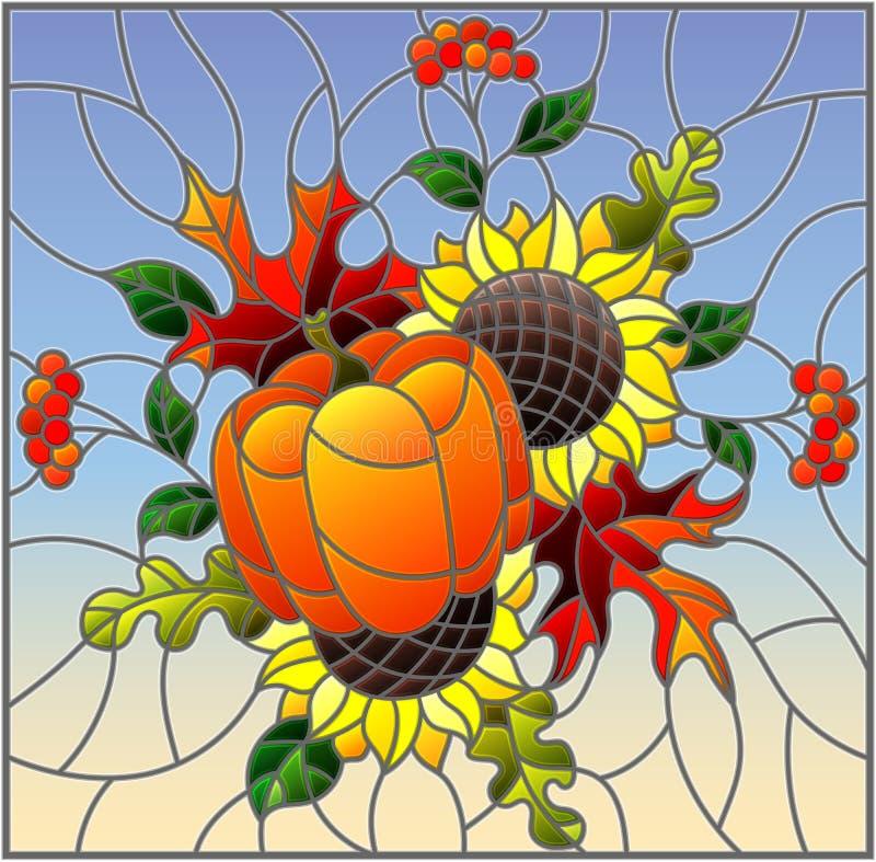 Illustration en verre souillé avec la composition en automne, les feuilles lumineuses, les fleurs et le potiron sur le fond de ci illustration de vecteur