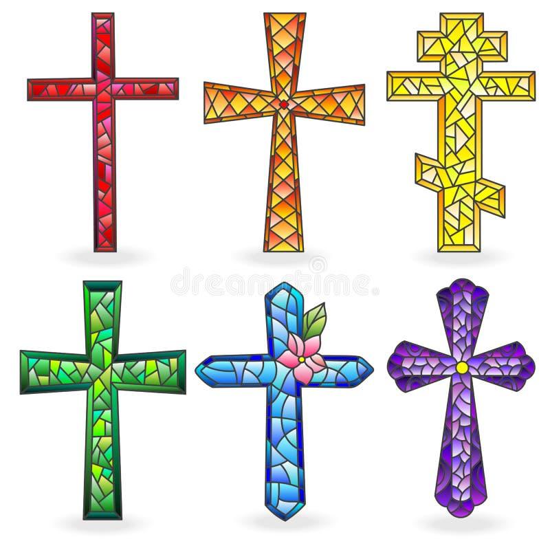 Illustration en verre souillé avec la croix chrétienne illustration de vecteur