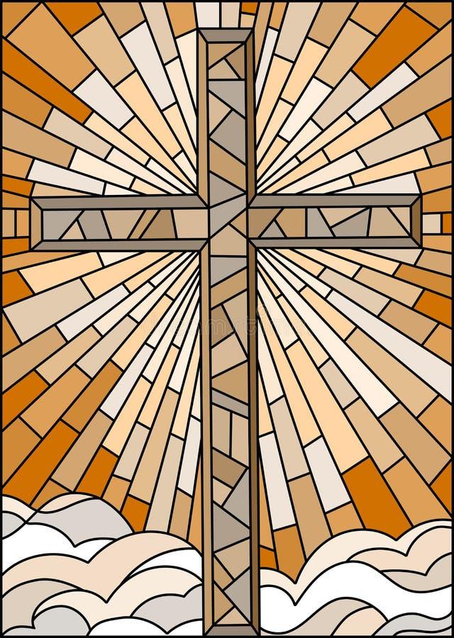 Illustration en verre souillé avec la croix chrétienne sur un fond de ciel et de nuages, ton brun, sépia illustration de vecteur