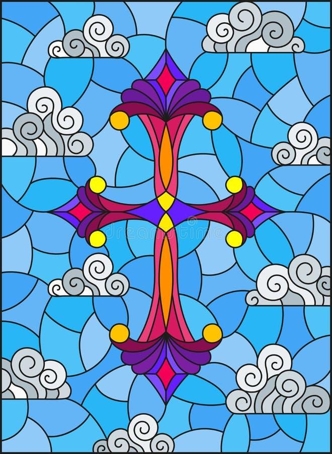 Illustration en verre souillé avec la croix lumineuse sur un fond de ciel bleu et de nuages illustration de vecteur