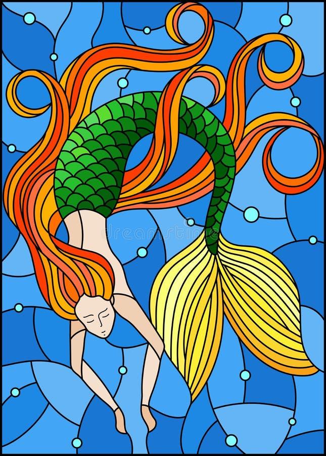 Illustration en verre souillé avec la sirène avec de longs cheveux rouges sur le fond de bulles de l'eau et d'air illustration libre de droits