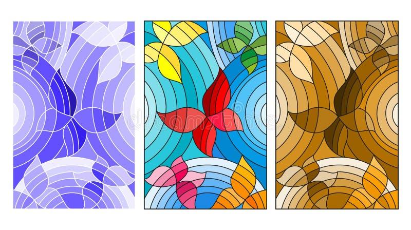 Illustration en verre souillé avec la version de papillons, colorée, bleue et brune abstraite illustration libre de droits