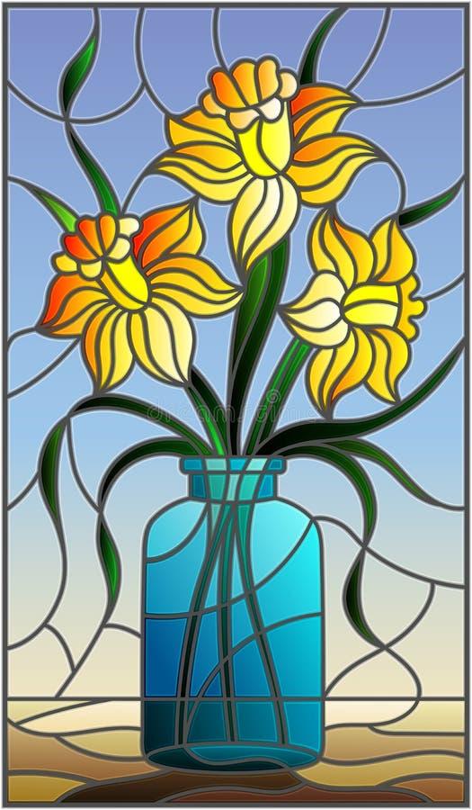 Illustration en verre souillé avec la vie immobile, bouquet de jonquille jaune dans un pot en verre sur un fond bleu illustration stock