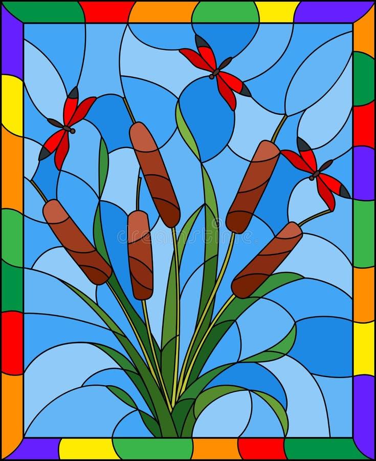 Illustration en verre souillé avec le bouquet du jonc et des libellules rouges sur un fond de ciel, dans le cadre lumineux illustration stock