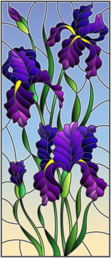 Illustration en verre souillé avec le bouquet pourpre des iris, des fleurs, des bourgeons et des feuilles sur le fond de ciel illustration stock
