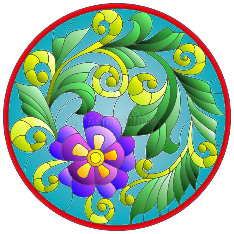 Illustration en verre souillé avec le cadre rond de fleurs et de feuilles d'abstraction illustration stock