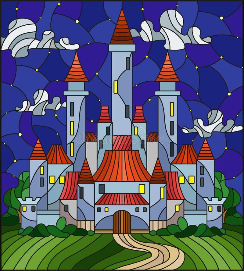 Illustration en verre souillé avec le château antique sur le fond du ciel nocturne nuageux illustration stock