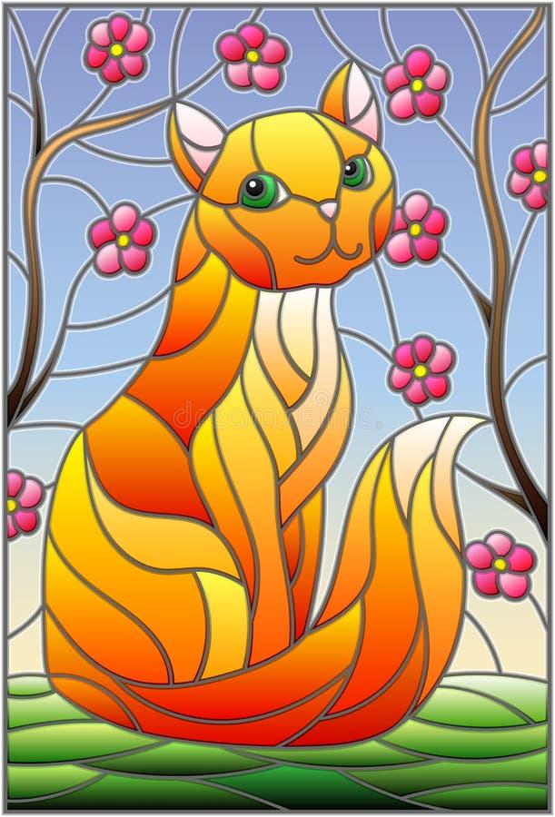 Illustration en verre souillé avec le chat rouge contre les branches de ciel et d'arbre illustration libre de droits