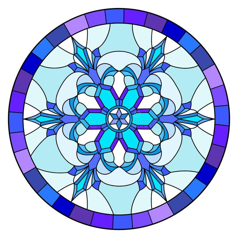Illustration en verre souillé avec le flocon de neige dans des couleurs bleues dans un cadre, image ronde illustration libre de droits