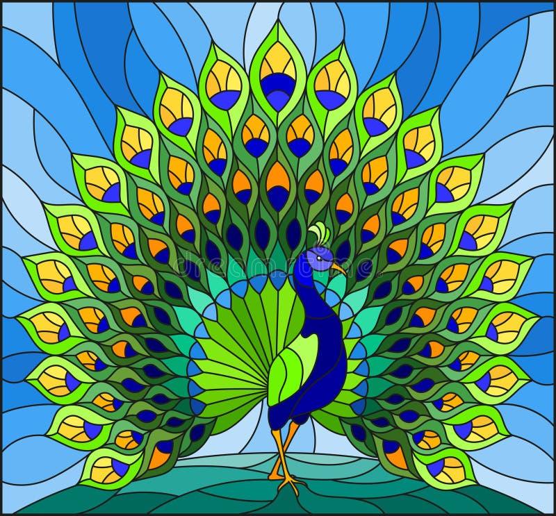 Illustration en verre souillé avec le paon coloré sur le ciel bleu illustration de vecteur