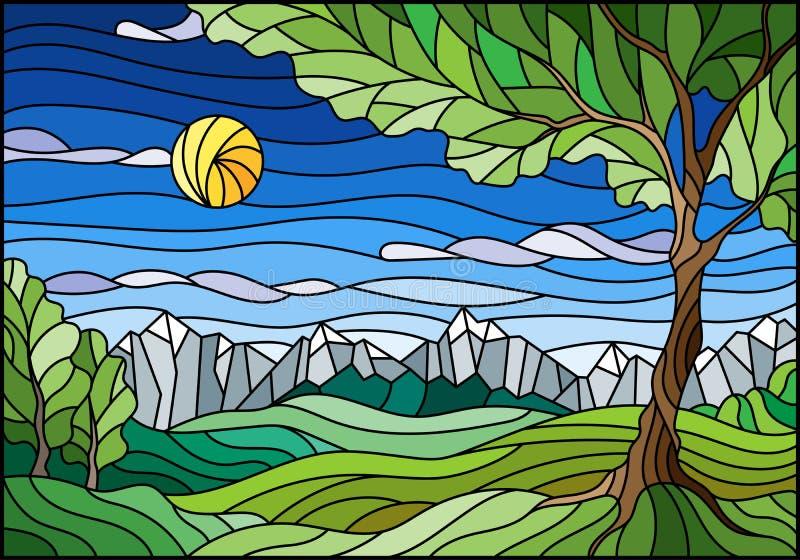 Illustration en verre souillé avec le paysage, arbre vert sur le paysage de montagne et fond ensoleillé de ciel illustration libre de droits