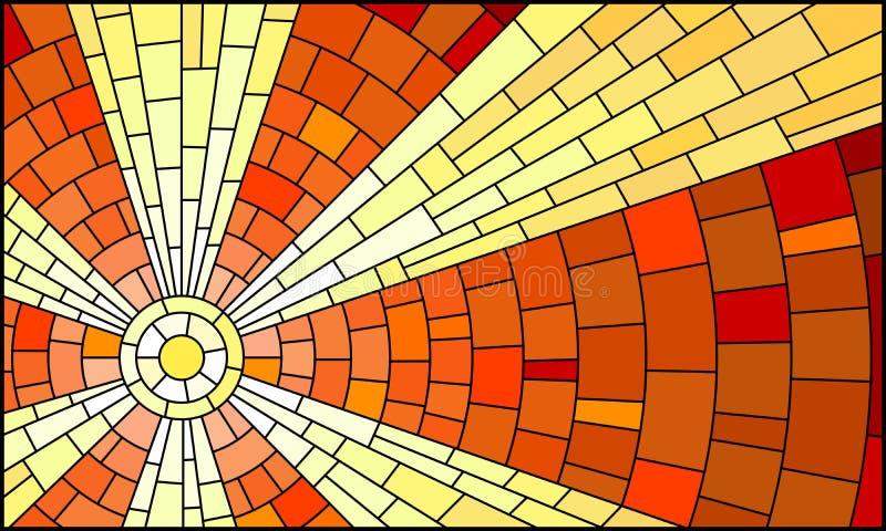 Illustration en verre souillé avec le paysage céleste abstrait, le soleil avec des rayons contre le ciel illustration libre de droits