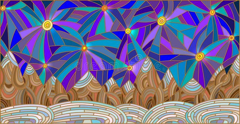 Illustration en verre souillé avec le paysage de montagne sur le fond du ciel étoilé illustration stock