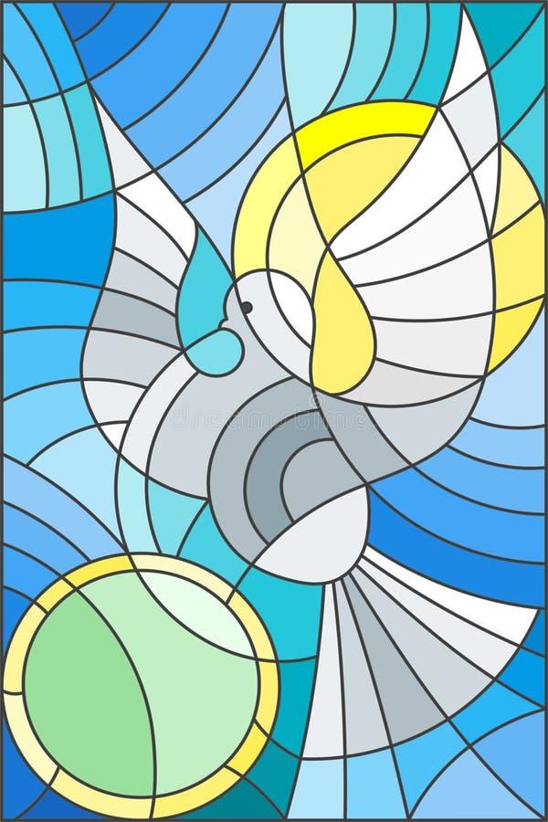 Illustration en verre souillé avec le pigeon abstrait et le soleil dans le ciel illustration stock