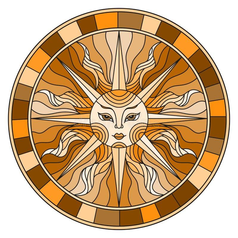 Illustration en verre souillé avec le soleil abstrait dans le cadre, image ronde, ton brun illustration de vecteur