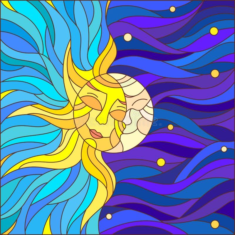 Illustration en verre souillé avec le soleil et la lune dans le ciel illustration libre de droits
