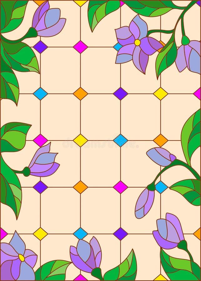 Illustration en verre souillé avec les fleurs bleues, fenêtres en verre teinté d'imitation illustration de vecteur