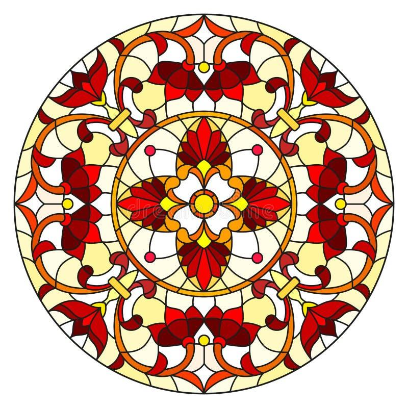 Illustration en verre souillé avec les fleurs, les feuilles et les remous abstraits, image circulaire sur le fond blanc illustration stock