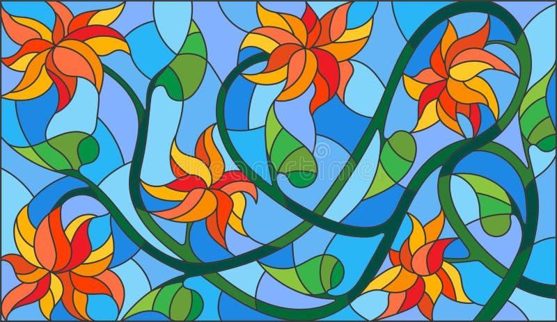 Illustration en verre souillé avec les fleurs oranges abstraites sur un fond bleu, orientation horizontale illustration libre de droits