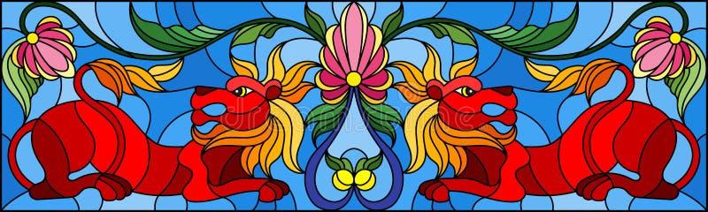 Illustration en verre souillé avec les lions et les fleurs rouges abstraits sur le fond bleu, image retournée, orientation horizo illustration libre de droits