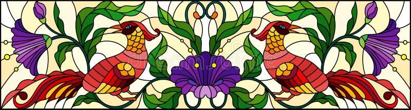 Illustration en verre souillé avec les oiseaux rouges abstraits et les fleurs pourpres sur un fond clair, miroir, image horizonta illustration stock