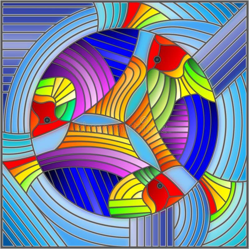 Illustration en verre souillé avec les poissons d'arc-en-ciel géométriques abstraits sur le fond bleu illustration libre de droits